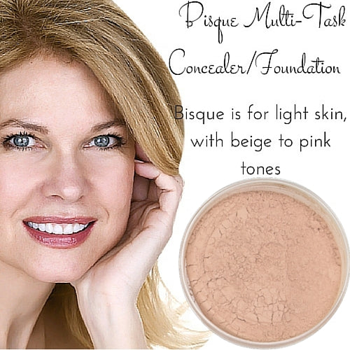 Bisque Multi Task Concealer - Full Coverage Matte Loose Mineral Foundation - Ready to Label