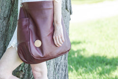 Limited Edition Leather Diaper Bag - Wine