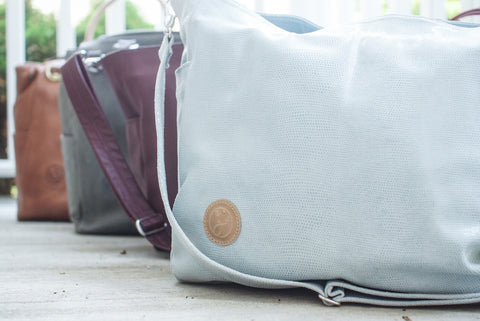 Limited Edition Leather Diaper Bag - Icelantic Blue