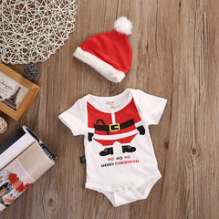Newborn Infant Baby 2pcs Outfit Set - Short Sleeve Romper+Christmas Hat