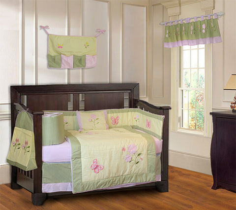 Butterfly Daisy Crib Bedding Set with Nursery Decor - FREE SHIPPING!
