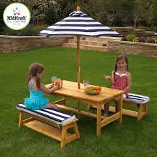 Kidkraft Outdoor Table & Bench Set with Cushions & Umbrella, KidKraft, Desk and Chair, Table and Chair Sets