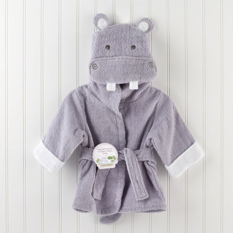 Hippo Hooded Baby Bathrobe, Baby Aspen, Bath Time,