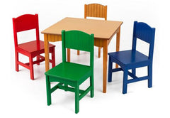 Nantucket Table + 4 Chairs in Primary Colors, KidKraft, Desk and Chair, Table and Chair Sets