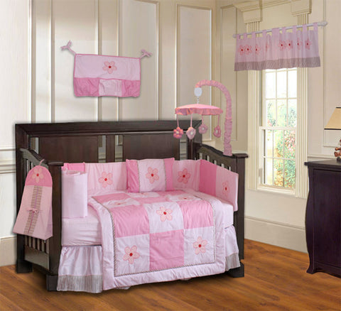 Pink Petal 10 Piece Crib Bedding Set, BeddingHut, Bedding, Crib Bedding