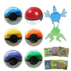 6pc Set - Multicolour Pokeball Magical Ball with Crystal Pet & Stickers