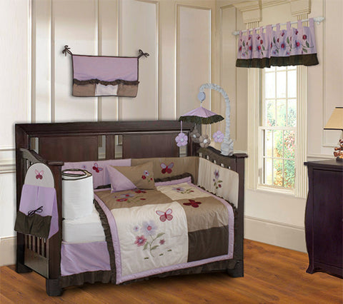 Purple Blossom Crib Bedding Set & Nursery Decor, BeddingHut, Bedding, Crib Bedding