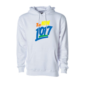 "Neon Blue ""The New 1017"" White Hoodie"