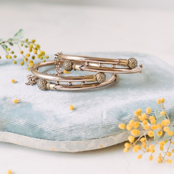 Matching Odis Etruscan Engagement Bracelets