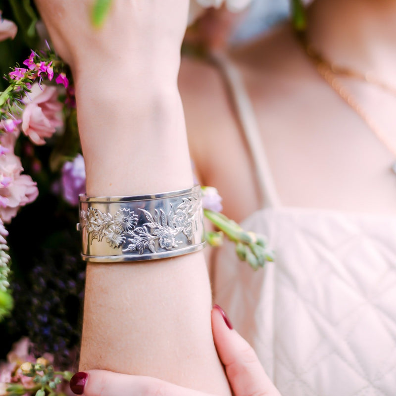 Sunny English Sterling Floral Cuff