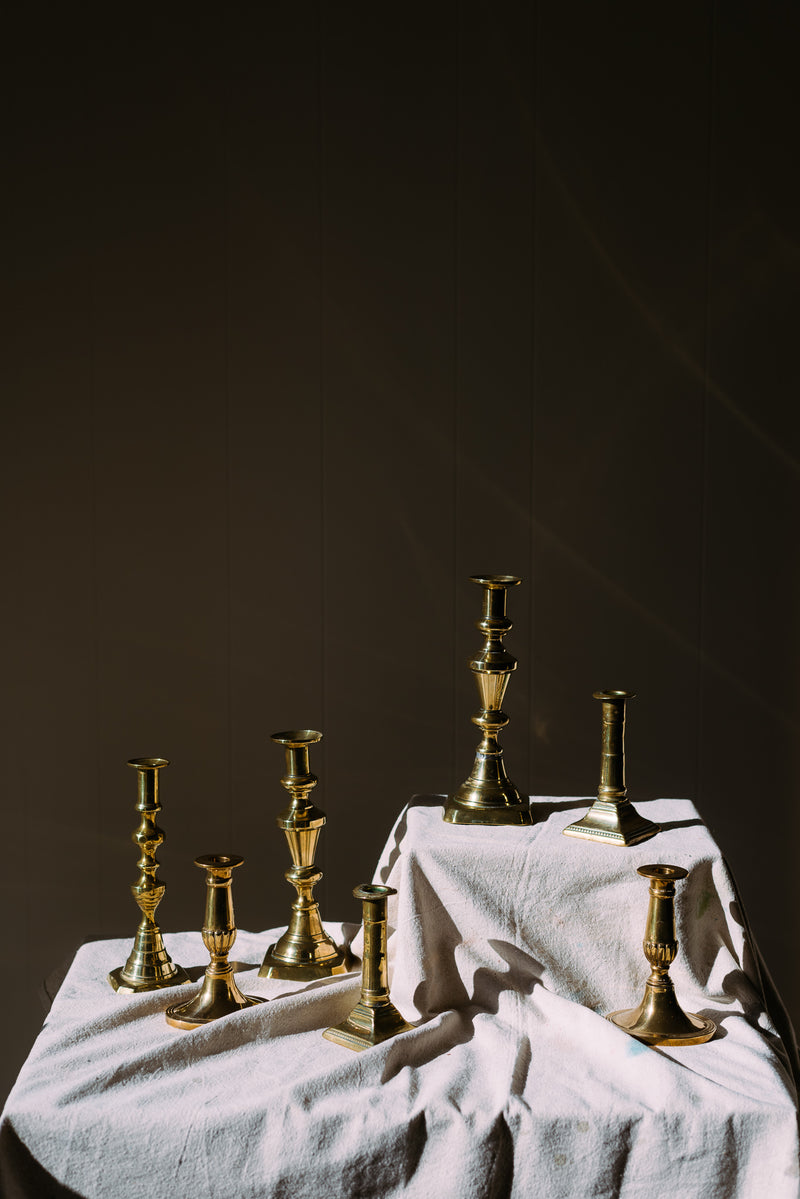Georgian & Victorian Brass Candlesticks