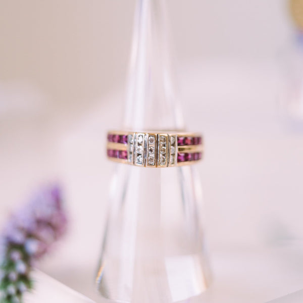 Ruby and Diamond Column Ring