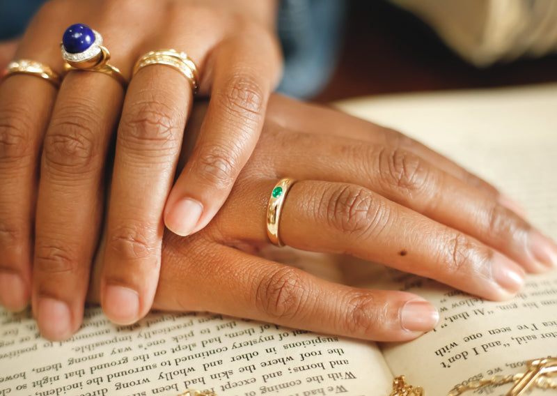 Classic Elisa Emerald + Gold Ring