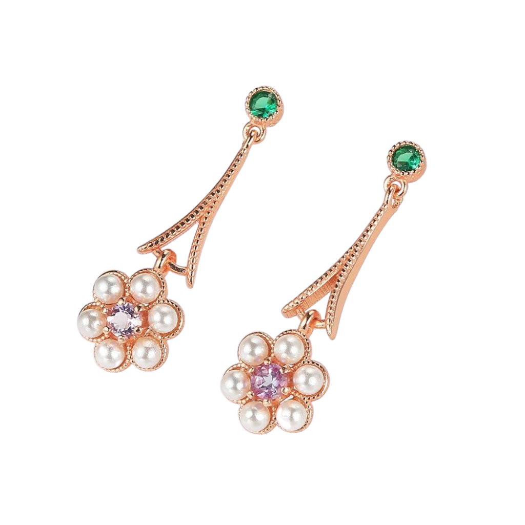 Our 925 Sterling Silver and 18K Rose Gold Plated amethyst and pearl drop earrings in the shape of a flower.