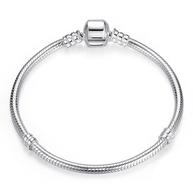 Our 925 Sterling Silver Pandora compatible charm bracelet displayed on a white background.