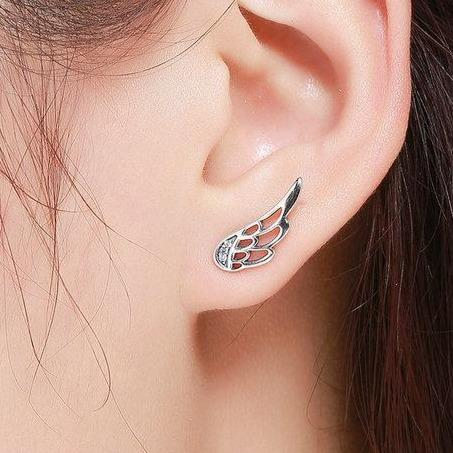925 Sterling Silver Angel wing stud earrings with cubic zirconia