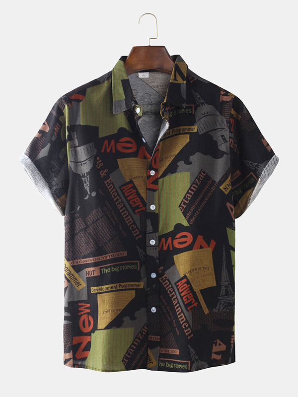 Men Short Sleeves Lapel Ethnic Printed Shirt