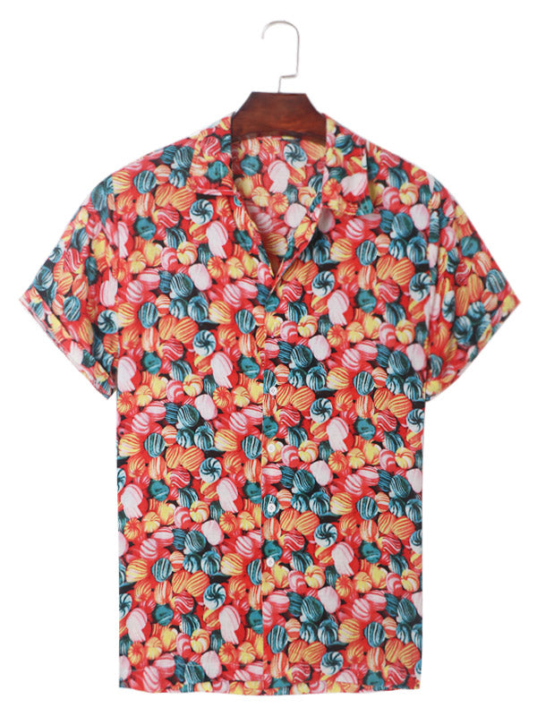 Men Floral Printed Short Sleeves Shirt