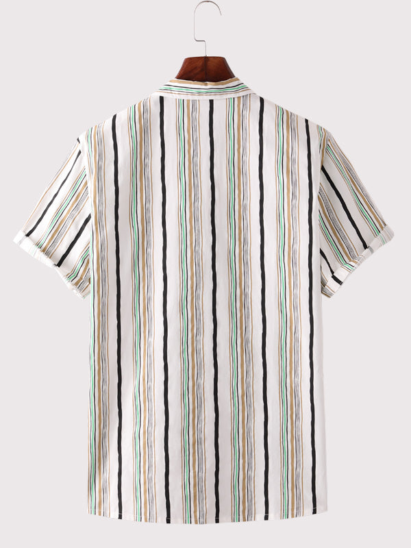 Men Casual Striped Short Sleeves Shirt