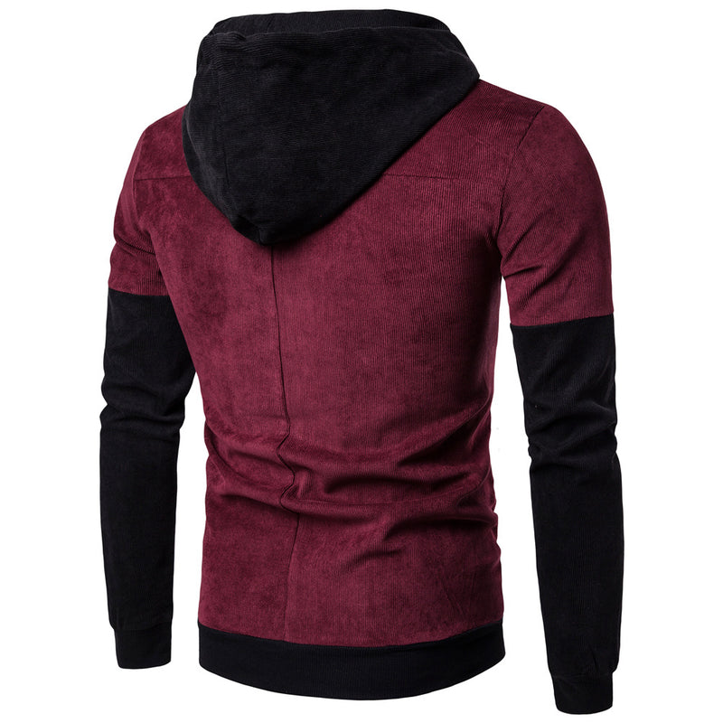 Men Contrasting Color Casual Hoodie