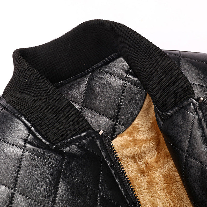 Men Stand Collar Solid Color Plus Suede Leather Jacket