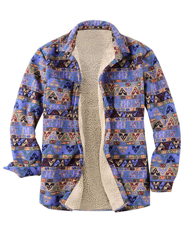 Long Sleeves Lapel Folk-Custom Style Lamb Cashmere Retro Shirt