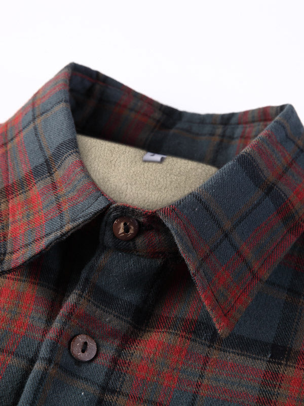Winter Style Plaid Long Sleeves Lamb Cashmere Lined Retro Shirt