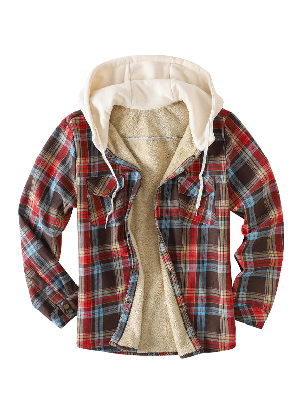 Men's Casual Plaid Hooded Long Sleeve Shirt