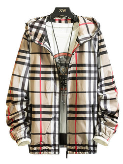 Men Plaid Casual Hooded Jacket