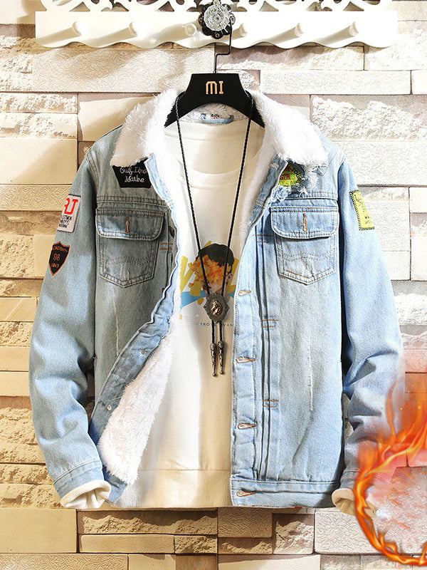Men Velvet Print Casual Jacket