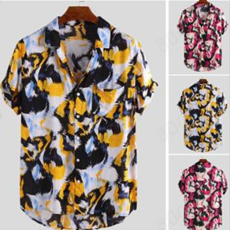 Men Printed Feather Short-Sleeved Shirt