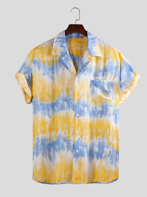Men Tie Dye Short Sleeves Shirt