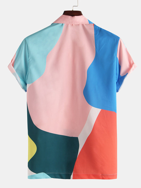 Summer Color-Block Mens Short Sleeves Blouses&Shirts