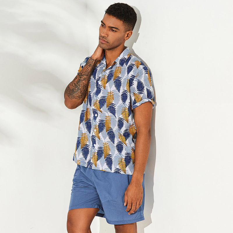 Men Short Sleeves Lapel Leaf Printed Shirt