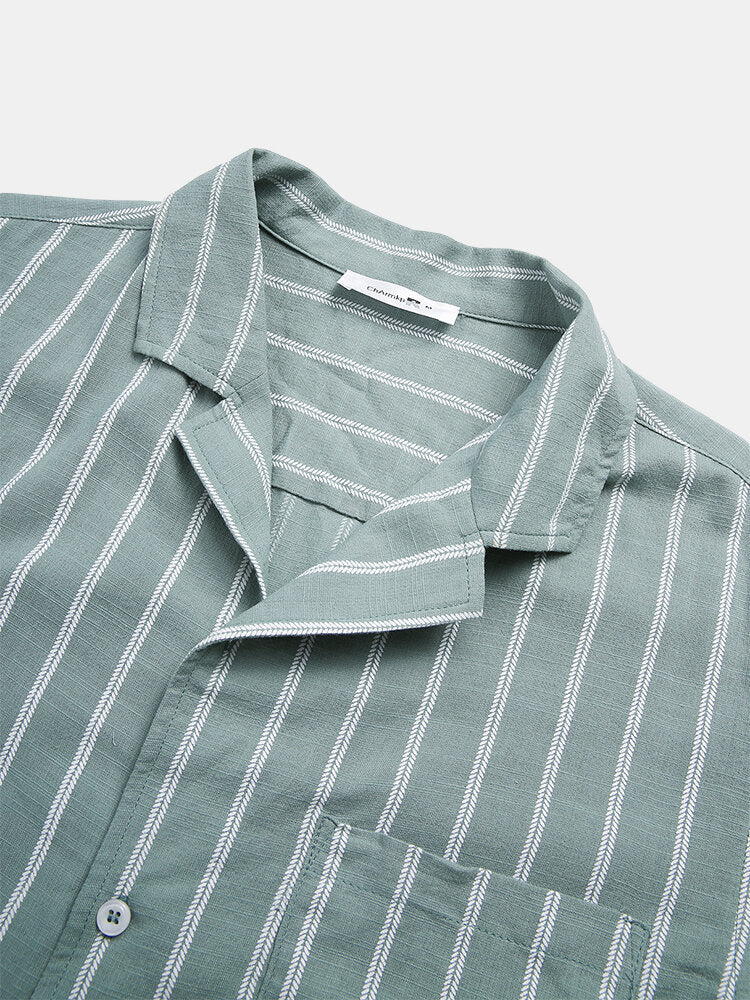 Men Stripe Chest Pocket Holiday Casual Shirt