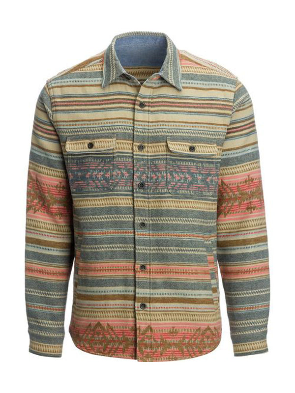 Men's Casual Ethnic Print Long Sleeve Coat