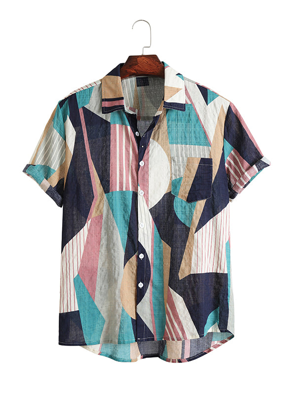 Men Color-Block Fashion Summer Style Lapel Shirt