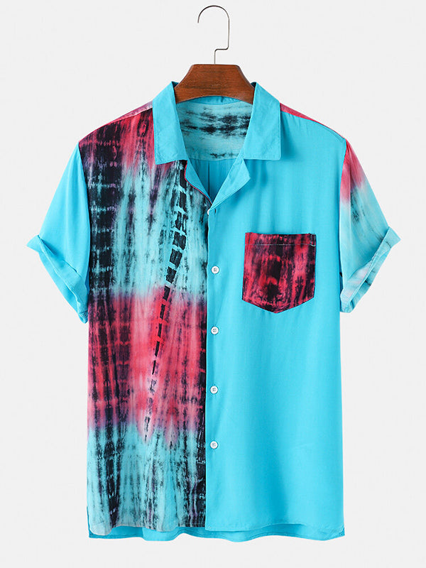 Men Patchwork Casual Holiday Pocket Shirts