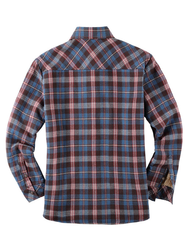 Long Sleeves Plaid Winter Lamb Cashmere Lined Casual Retro Shirt