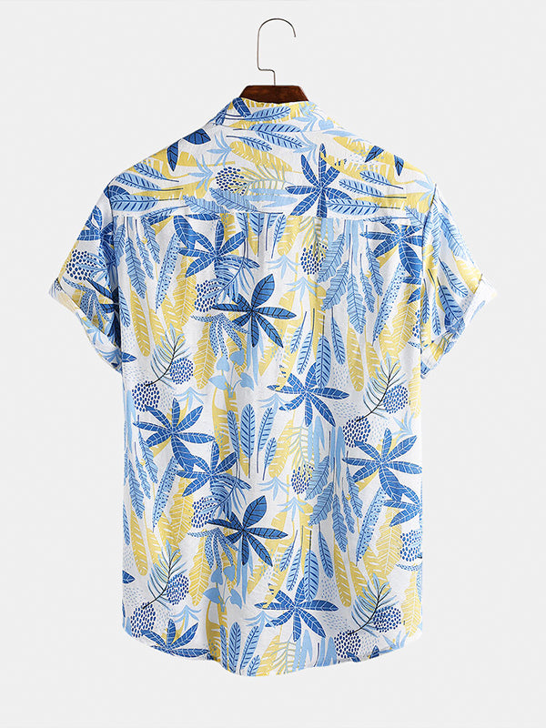 Men Casual Leaf Plant Printed Short Sleeve Shirts