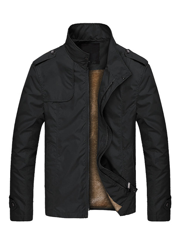 Men Thick  Solid Stand Collar Zipper Jacket