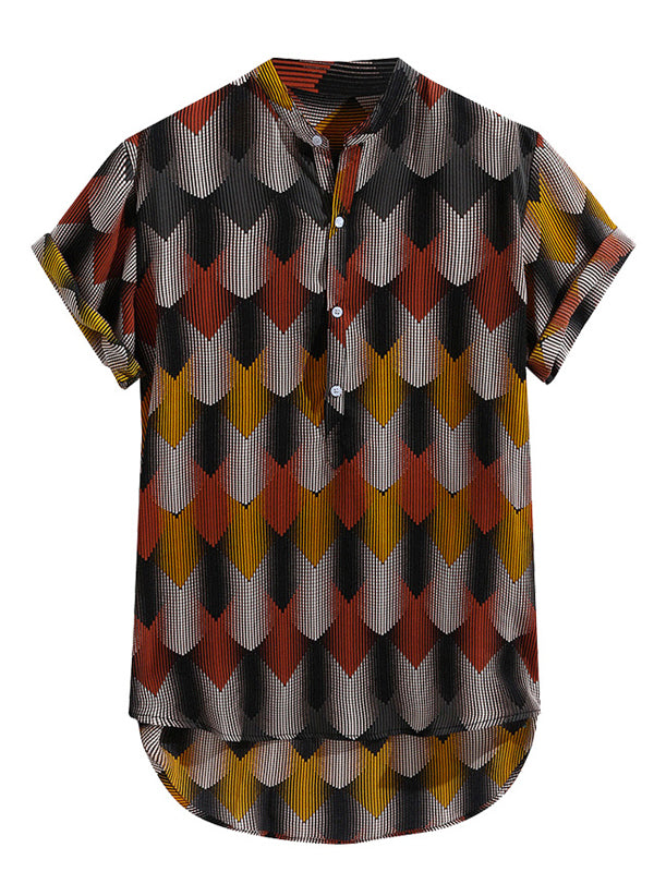 Geometric Printed Short Sleeves Blouses&shirts