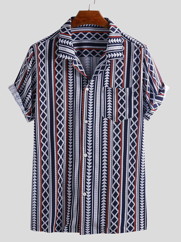 Men Printed Casual Short Sleeves Shirt
