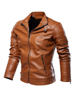 Men Simple Stand Collar Leather Jacket