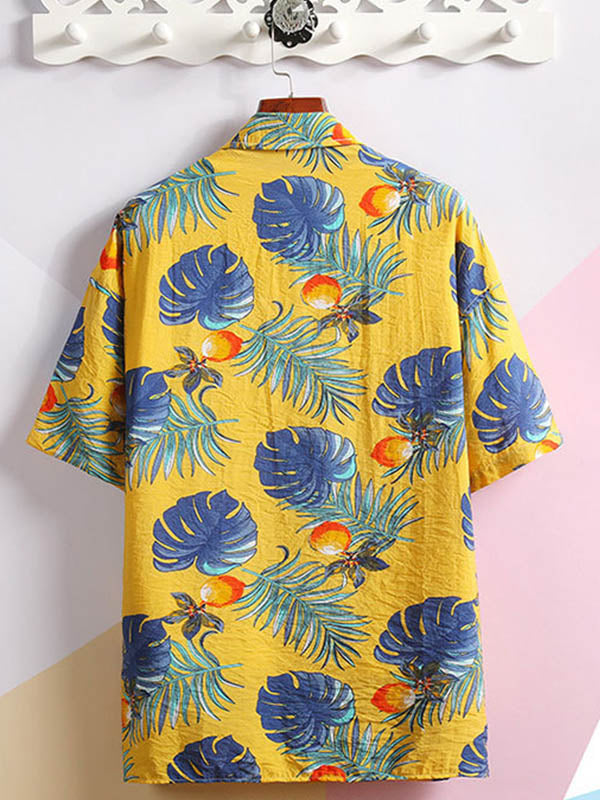 Men Digital Printed Casual Shirt Short Sleeve