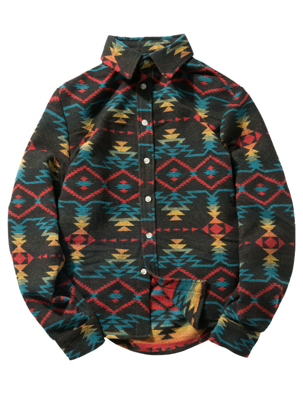 Men's Casual Retro Printed Long Sleeve Shirt