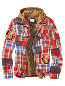 Men's Casual Plaid Stitching Chiefs Padded Hooded Shirt