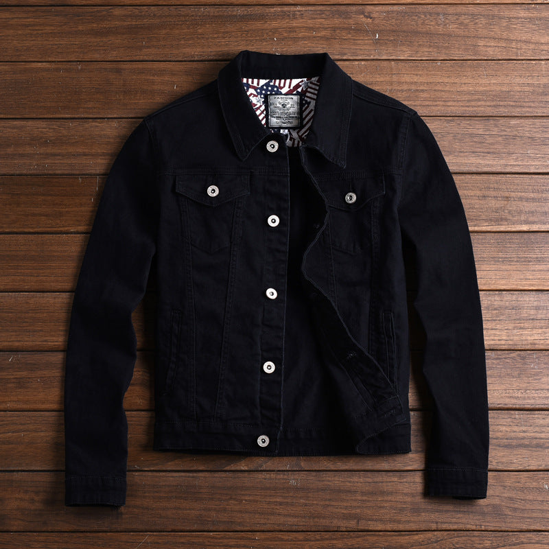 Men's Casual Solid Color Lapel Denim Jacket