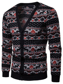 Men Printed Casual V-Neck Sweater