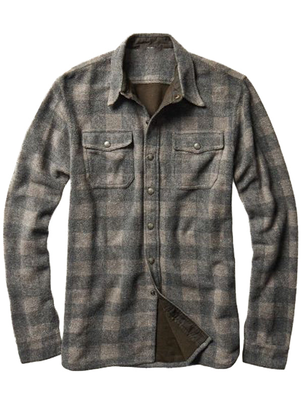 Men's Vintage Long Sleeve Plaid Shirt